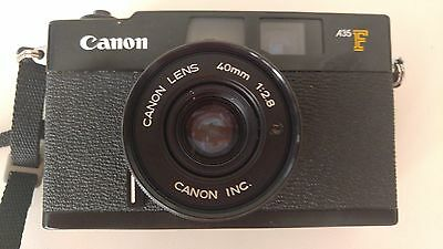 Vintage Canon A35F  Manual Focus 35mm Film camera w/40mm 1:2.8 lens with case