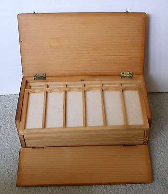 SUPERB 19th. C.  Pine  MICROSCOPE SLIDE DISPLAY CASE for 72 mounts