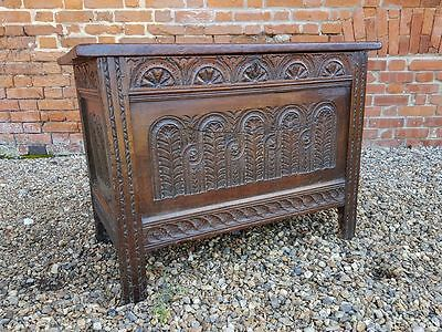 Mid 17th Century English Antique Oak Joined Chest Coffer - Rare Form!