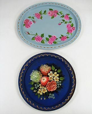 Vintage Toleware Lot of 2 Trays 1 Round 1 Oval Hand Painted