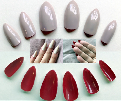 Hand Painted False Nails STILETTO (or ANY SHAPE) Maleficent Nude and Red Reverse