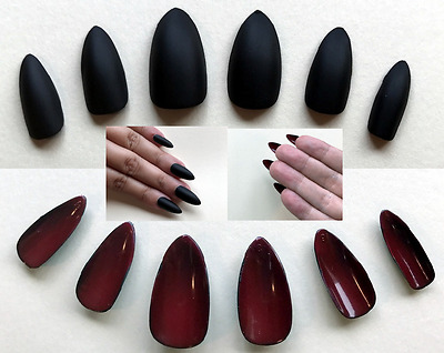 Painted False Nails STILETTO (or ANY SHAPE) Matte Black & Red Reverse HALLOWEEN