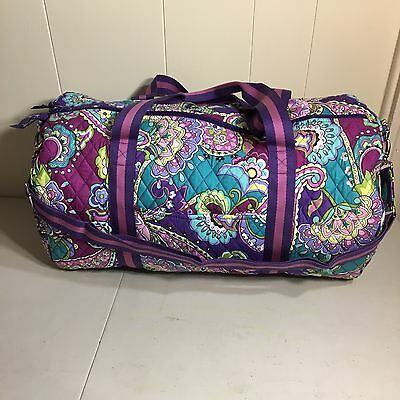 Vera Bradley Round Getaway Duffle Bag Heather Weekender Overnight Travel Bag NEW