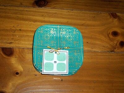BRAND NEW- 222 Fifth MADRID GREEN - SET of Four Appetizer Plates - Sealed