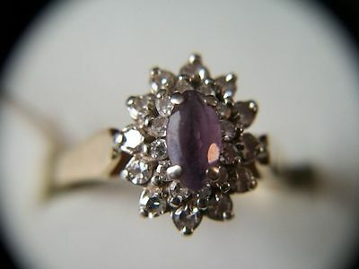Estate Find 14K .23ctw Amethyst Ring with  24 Diamonds 4 Grams Size 9