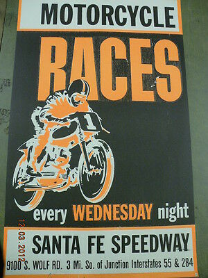 Vintage Speedway Indian Harley Triumph Bsa Motorcycle Racing Poster Reproduction
