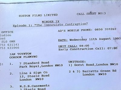 Minder Tv Show Film Crew  Call Sheet Location { Totaly Genuine Private Collector