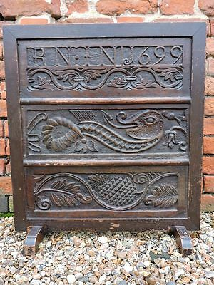 3 x 17th Century English Antique Carved Oak Panels Set within a Later Firescreen