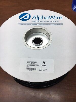 "Alphawire SW52 PVC Black 3/8"" Spiral Wrap Tubing 100' Foot Roll"