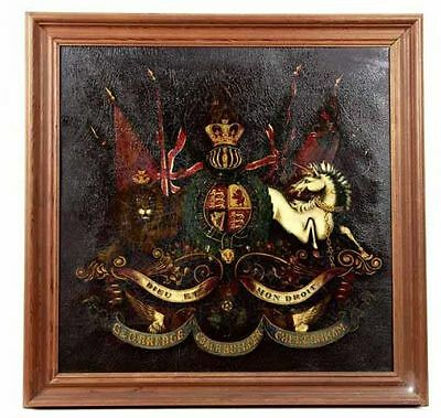 Large Early 19th Century English Antique Armorial Panel Coat of Arms
