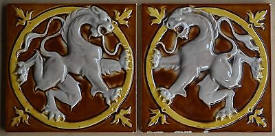 Antique Hemixen Belgium - Lion Rampant - Majolica 2 Tiles Set C1900