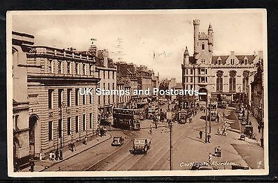 1961 Castlegate Aberdeen Unposted Card With Trams & Other Vintage Vehicles Etc