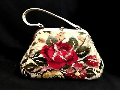 Vintage Rose Carpet Bag Needlepoint Tapestry Jana 50's - 60's Purse Italy Mint!