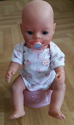 "Zapf Baby Born Girl Doll With Magic Eyes. 17 "" / Potty / Dummy / In VGC,"