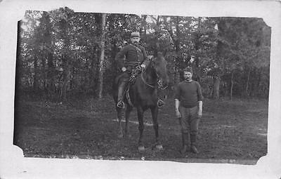 Vintage REAL PHOTO Postcard Man in Uniform On Horse FRANCE French