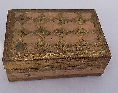 Antique Painted  Wooden Florentine Box from Italy