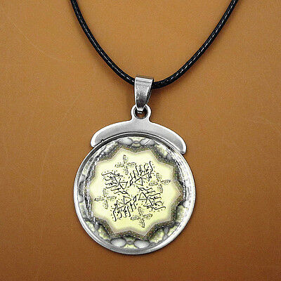 Arabic Islamic Amulet Stainless Steel Pendant Leather Necklace Muslim Gift