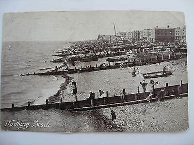 Postcard Worthing Beach Boats Holiday Early 1900's