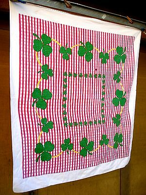 Vintage 40's Clover pink check Tablecloth