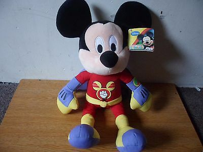 Disney Mickey Mouse Large Soft Plush Clubhouse Superheroes Rare With Holo Tag