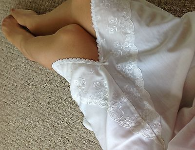 Vintage BHS White Cotton Lace  Half Petticoat slip size L UK 16 18