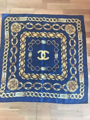 Authentic Vintage Chanel Navy Silk Scarf