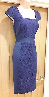 womens dress Monsoon blue size 12 pencil wiggle shift formal lace evening