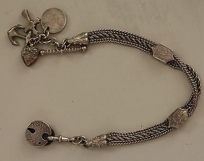 Victorian Antique Solid Silver Albertina Pocket Watch Chain Charms Padlock .