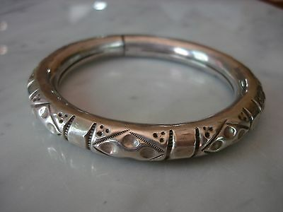Antique Chinese Heavy Sterling Repousse Bangle Bracelet