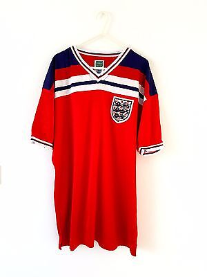England Retro 1980's Away Shirt. XL Adults. Score Draw. Red Football Top Only.