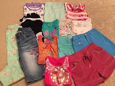 Girls Spring Summer Clothes Lot Of 14 Size 6/6x, 6/7 & 7 Shorts, tops, dress