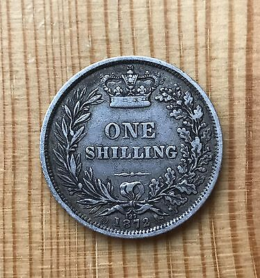 Queen Victoria 1872 Young Head Silver Shilling Coin - Die No.127 -Nice Condition