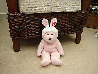 TY Beanie BUDDY BONNET Pink Easter Teddy Bear Soft Plush Toy Collectible New