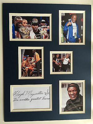"Boxing Floyd Mayweather Sr Signed 16"" X 12"" Double Mounted Display"