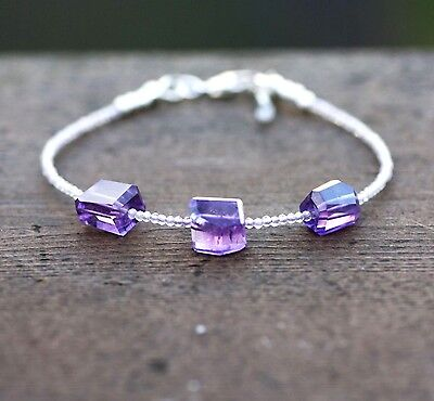Delicate Natural Amethyst Bracelet in Sterling Silver  ,  February Birthstone