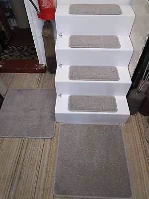 14 Luxury grey brown stair treads pads plus LARGE mat/runner 67cm x 136cm