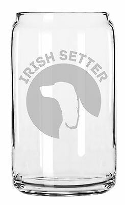 Irish Setter Dog Breed Pride Hand Made Etched Glass Can 16 oz