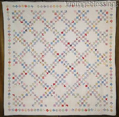 Beautiful Cottage Home! Vintage 30s Feedsack Double Irish Chain QUILT