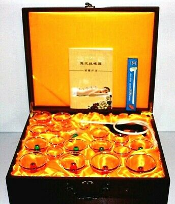 Luxury 24 Pieces Cupping Set Magnetic Acupuncture Therapy In Brown Wooden Case