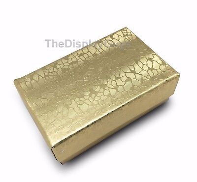 """US Seller~Lot of 12 pcs 2 5/8""""x1 1/2""""x1"""" Gold Cotton Filled Jewelry Boxes"""
