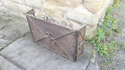 Antique Vintage Wrought Cast Iron Fire Guard Screen Rusted Fireguard Small