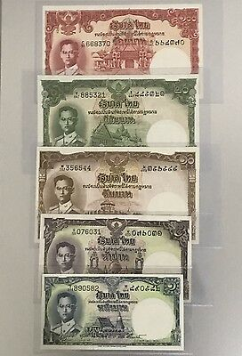 1956 King Bhumibol Adulyadej Thailand Banknote 1,5,10,20,100 Baht UNC Completed