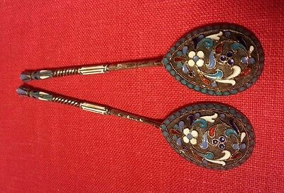 TWO ANTIQUE IMPERIAL RUSSIAN SILVER 84 GILT CLOISONNER ENAMEL SPOONS MOSCOW 27gr