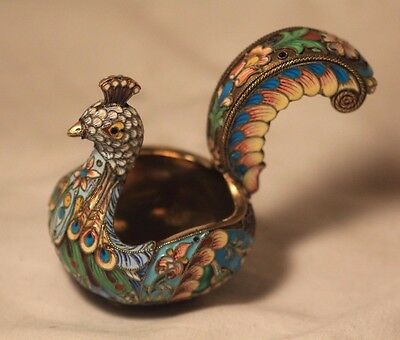 RUSSIAN SILVER GILT AND CLOISONNÉ ENAMEL PEACOCK FORM KOVSH 81.7 gr