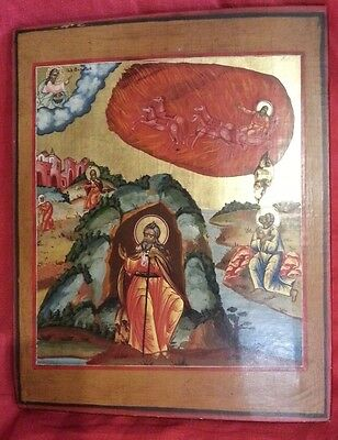 Prophet Elias Elijah Ascension Russian Orthodox Icon Tempera Gold Leaf On Wood