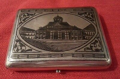 Imperial Russian Antique Niello Silver Cigarette Case Moscow Scene 1899-1908 145