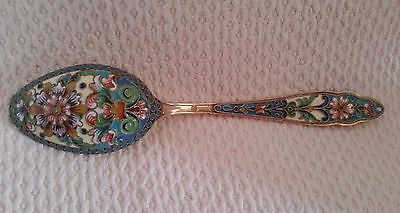 STUNNING SOLID SILVER GILDED & CLOISONNE ENAMEL RUSSIAN SPOON 31g