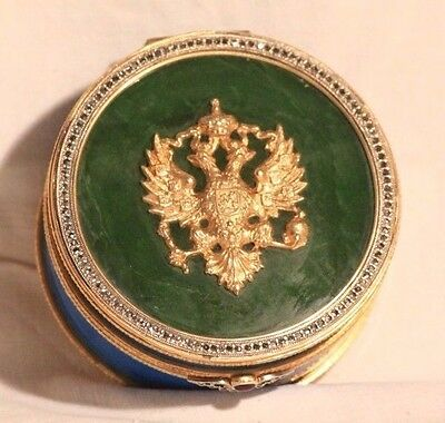 RUSSIAN SILVER GILT ENAMEL NEPHRITE JEWELLERY PILL BOX CASE IMPERIAL EAGLE 255 g