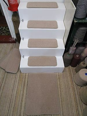 15 Luxury 50 x 21cm grey stair pads treads plus mat 50 x 65cm 80/20 British wool