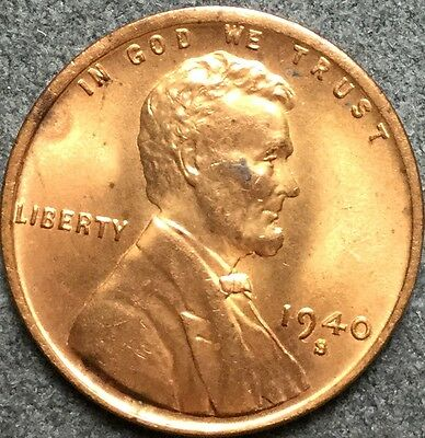 *1940 S* Red Uncirculated Lincoln Wheat Cent Penny. K72 *Free S&H*